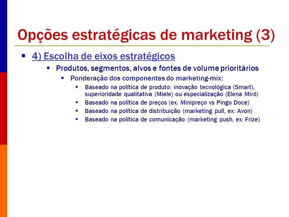 Opções estratégicas de marketing (3) 4) Escolha de eixos estratégicos Produtos, segmentos, alvos e fontes de volume prioritários Ponderação dos compon