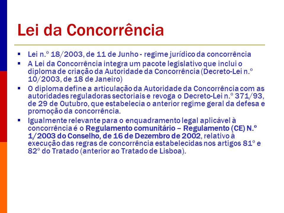 Lei da Concorrência Lei n.º 18/2003, de 11 de Junho - regime jurídico da concorrência A Lei da Concorrência integra um pacote legislativo que inclui o