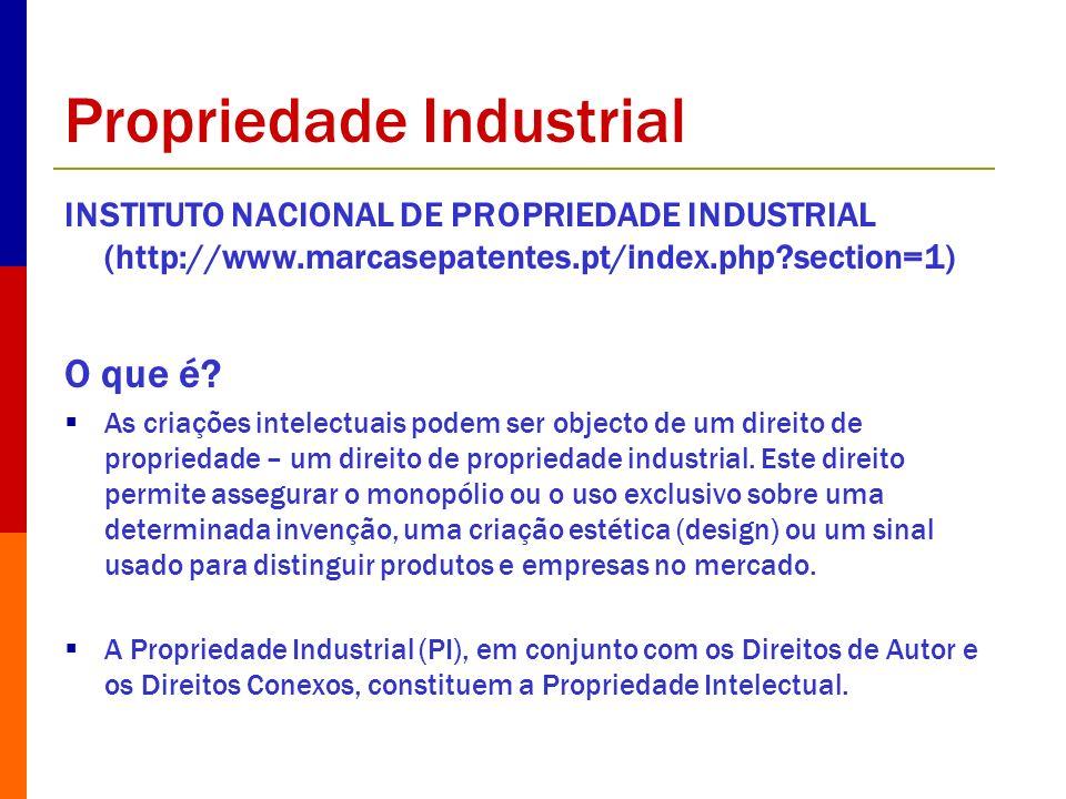 Propriedade Industrial INSTITUTO NACIONAL DE PROPRIEDADE INDUSTRIAL (http://www.marcasepatentes.pt/index.php?section=1) O que é? As criações intelectu