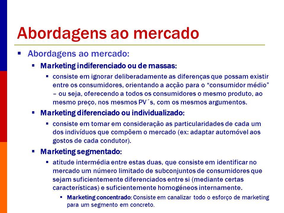 Abordagens ao mercado Abordagens ao mercado: Marketing indiferenciado ou de massas: consiste em ignorar deliberadamente as diferenças que possam exist