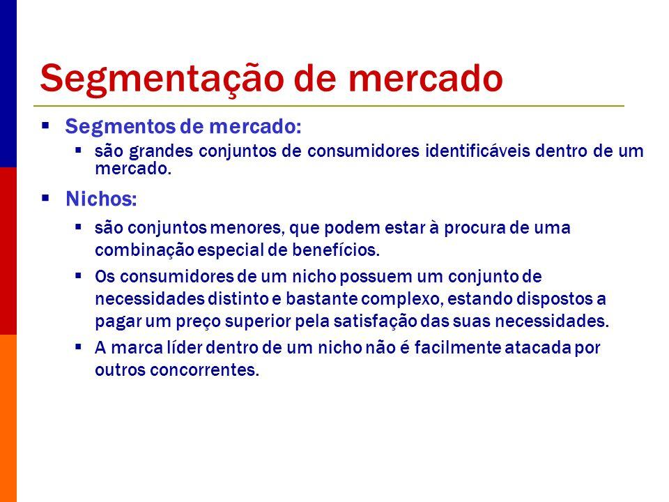 Segmentação de mercado Segmentos de mercado: são grandes conjuntos de consumidores identificáveis dentro de um mercado. Nichos: são conjuntos menores,