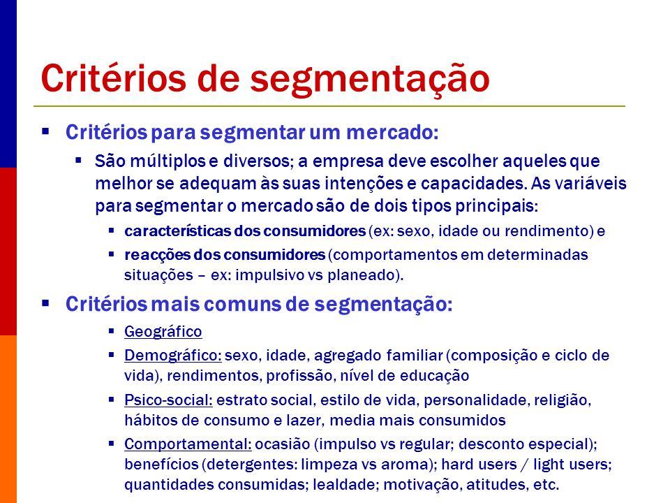 Critérios de segmentação Critérios para segmentar um mercado: São múltiplos e diversos; a empresa deve escolher aqueles que melhor se adequam às suas