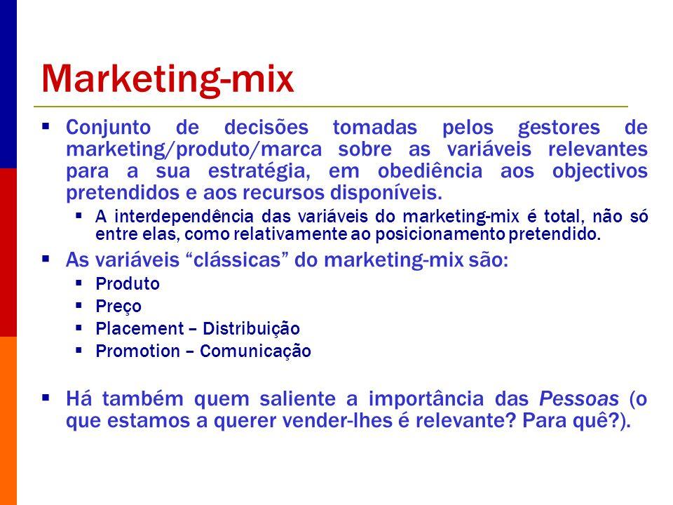 Marketing-mix Conjunto de decisões tomadas pelos gestores de marketing/produto/marca sobre as variáveis relevantes para a sua estratégia, em obediênci