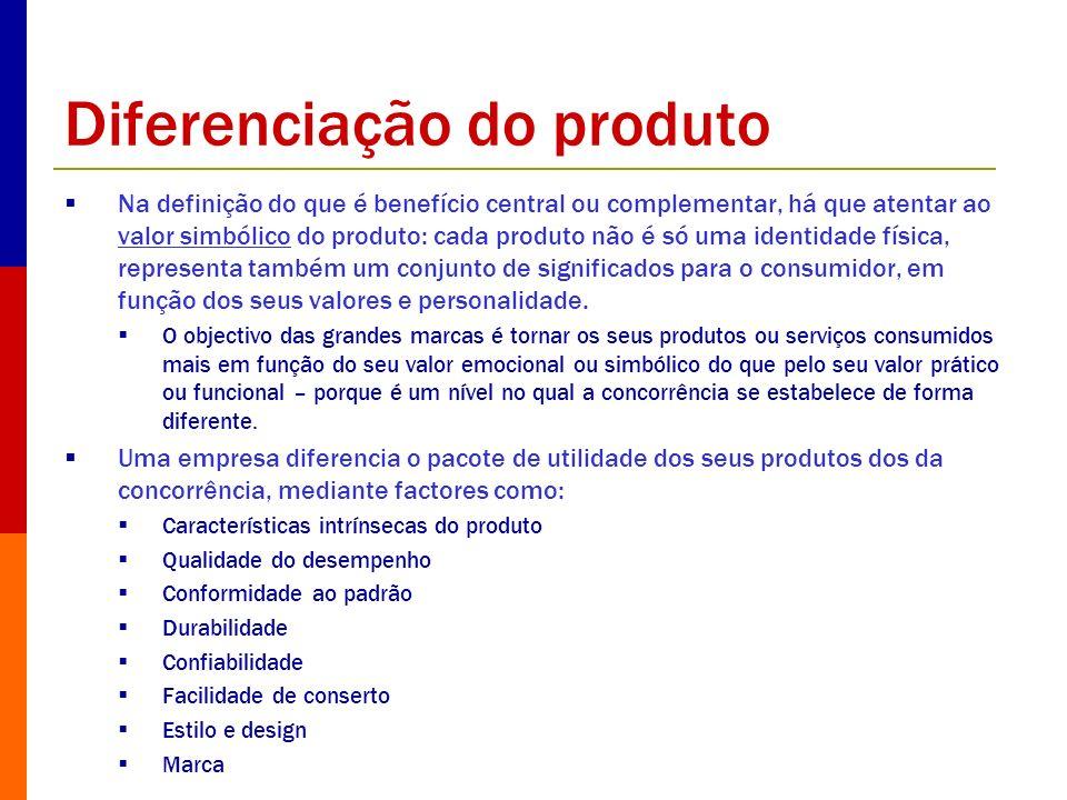 Diferenciação do produto Na definição do que é benefício central ou complementar, há que atentar ao valor simbólico do produto: cada produto não é só