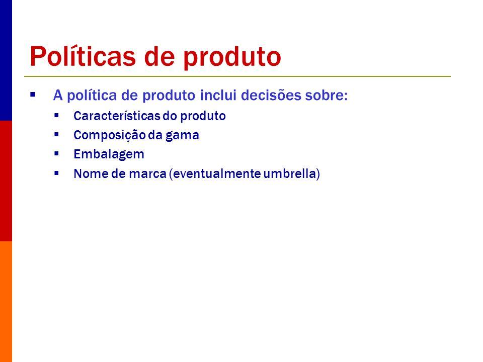 Políticas de produto A política de produto inclui decisões sobre: Características do produto Composição da gama Embalagem Nome de marca (eventualmente