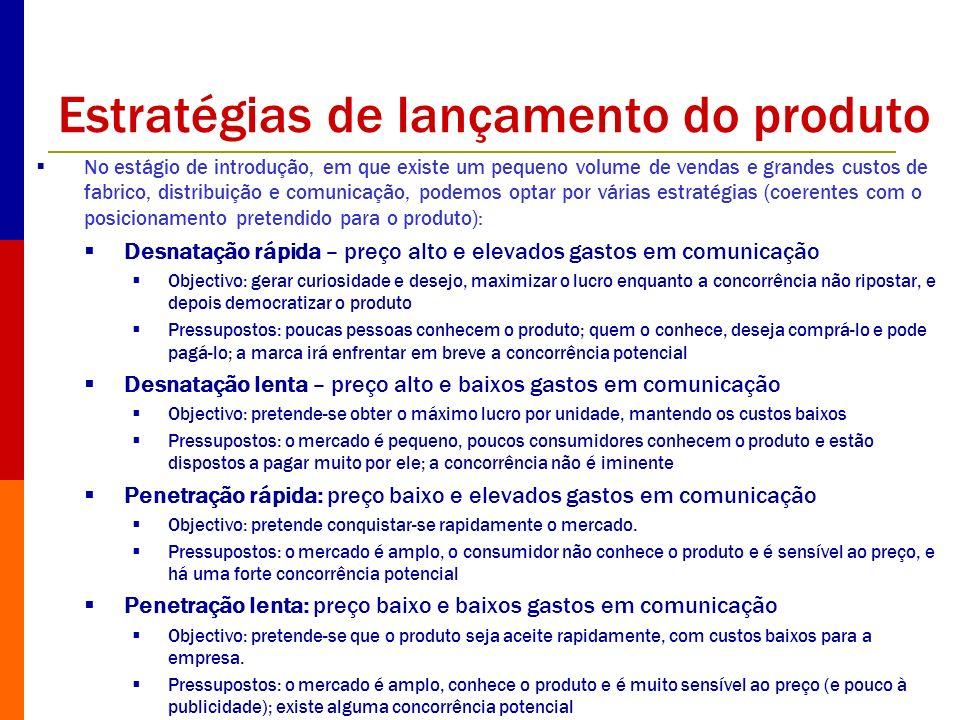 Estratégias de lançamento do produto No estágio de introdução, em que existe um pequeno volume de vendas e grandes custos de fabrico, distribuição e c