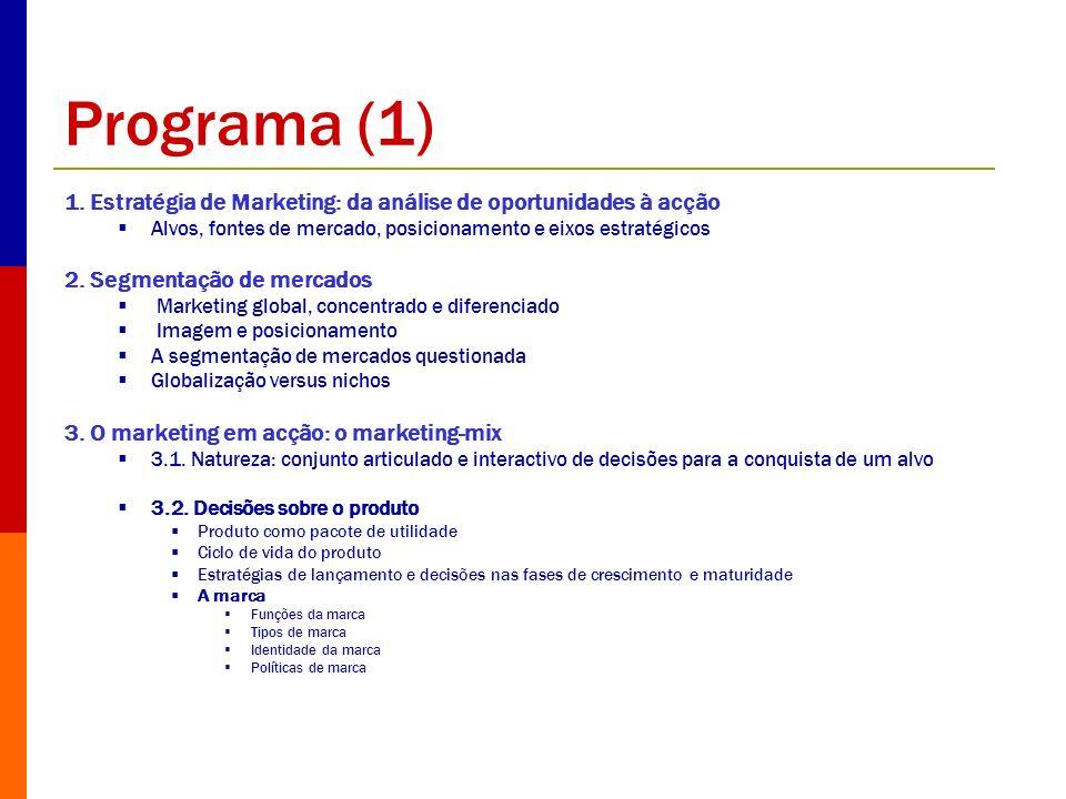 Programa (1) 1. Estratégia de Marketing: da análise de oportunidades à acção Alvos, fontes de mercado, posicionamento e eixos estratégicos 2. Segmenta