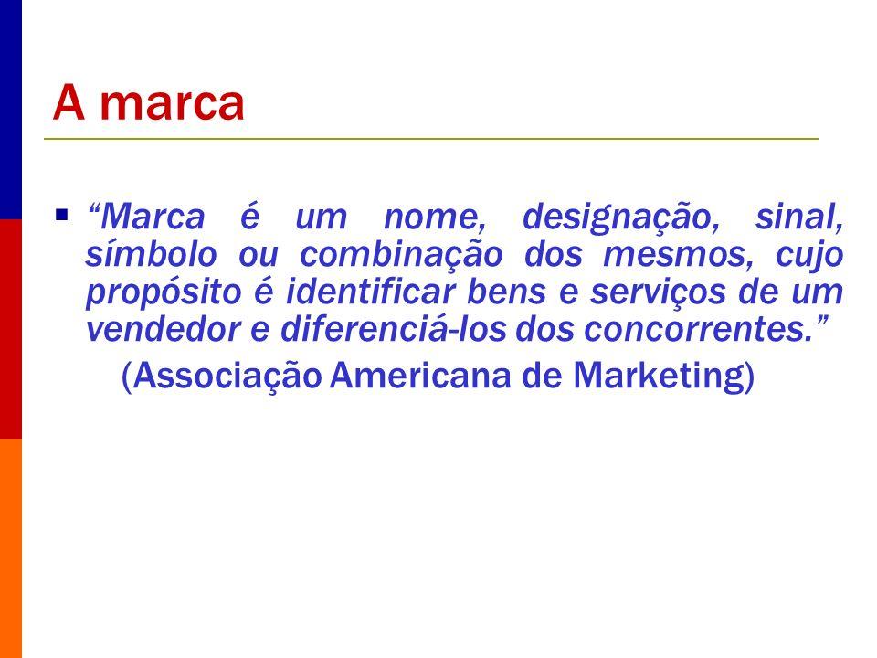 A marca Marca é um nome, designação, sinal, símbolo ou combinação dos mesmos, cujo propósito é identificar bens e serviços de um vendedor e diferenciá
