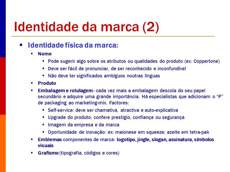 Identidade da marca (2) Identidade física da marca: Nome Pode sugerir algo sobre os atributos ou qualidades do produto (ex: Coppertone) Deve ser fácil