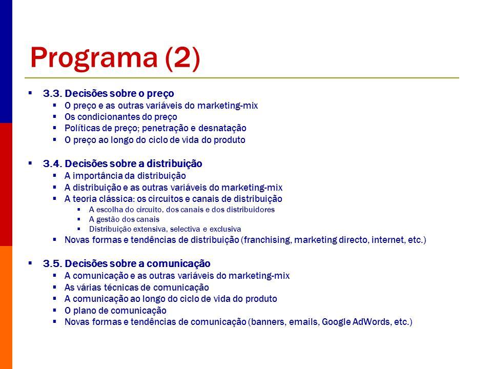 Programa (2) 3.3. Decisões sobre o preço O preço e as outras variáveis do marketing-mix Os condicionantes do preço Políticas de preço; penetração e de