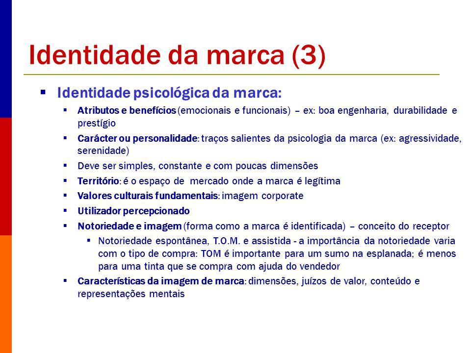 Identidade da marca (3) Identidade psicológica da marca: Atributos e benefícios (emocionais e funcionais) – ex: boa engenharia, durabilidade e prestíg