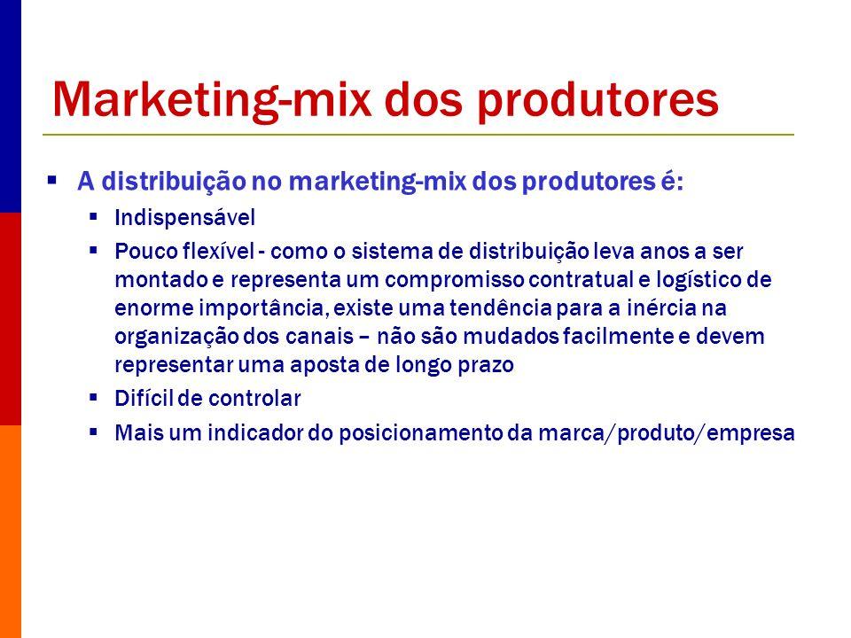 Marketing-mix dos produtores A distribuição no marketing-mix dos produtores é: Indispensável Pouco flexível - como o sistema de distribuição leva anos