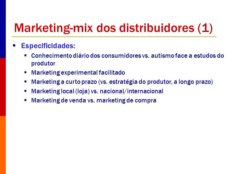 Marketing-mix dos distribuidores (1) Especificidades: Conhecimento diário dos consumidores vs. autismo face a estudos do produtor Marketing experiment