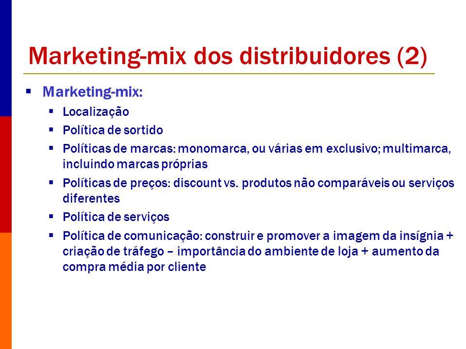 Marketing-mix dos distribuidores (2) Marketing-mix: Localização Política de sortido Políticas de marcas: monomarca, ou várias em exclusivo; multimarca