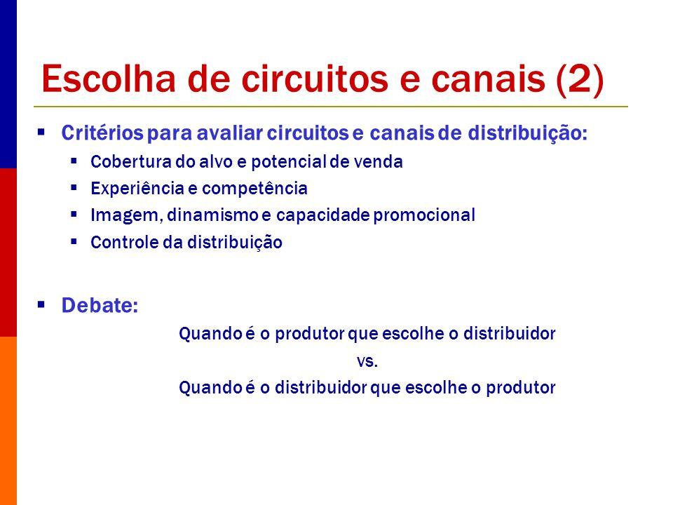 Escolha de circuitos e canais (2) Critérios para avaliar circuitos e canais de distribuição: Cobertura do alvo e potencial de venda Experiência e comp