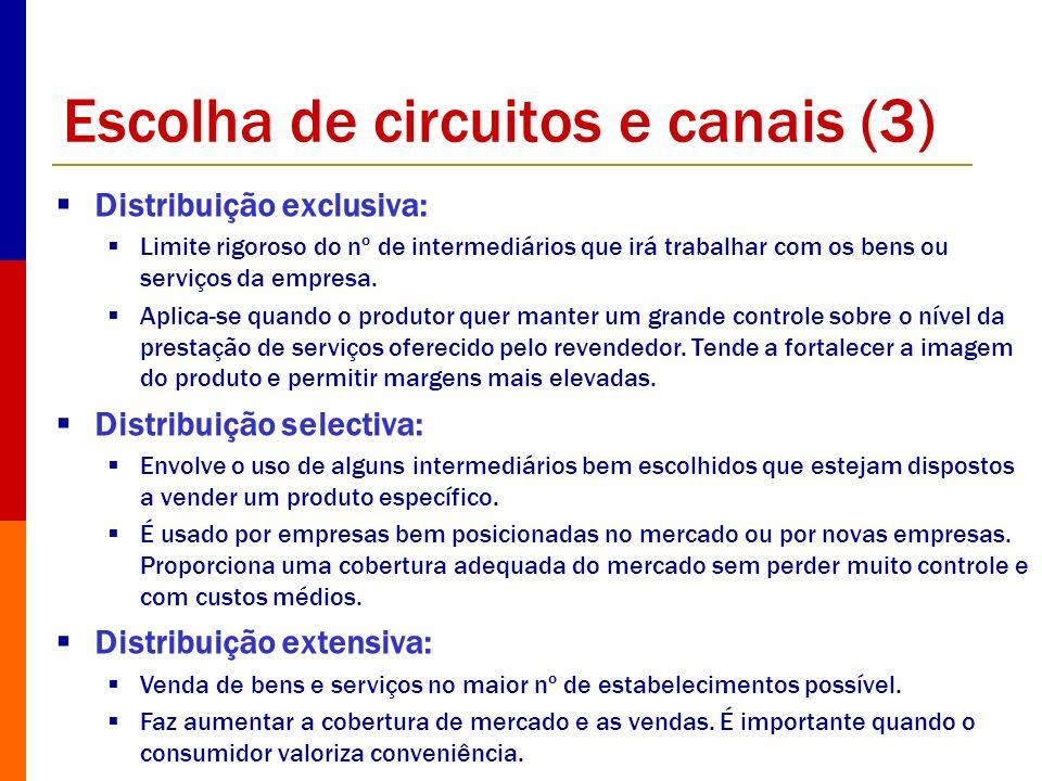 Escolha de circuitos e canais (3) Distribuição exclusiva: Limite rigoroso do nº de intermediários que irá trabalhar com os bens ou serviços da empresa