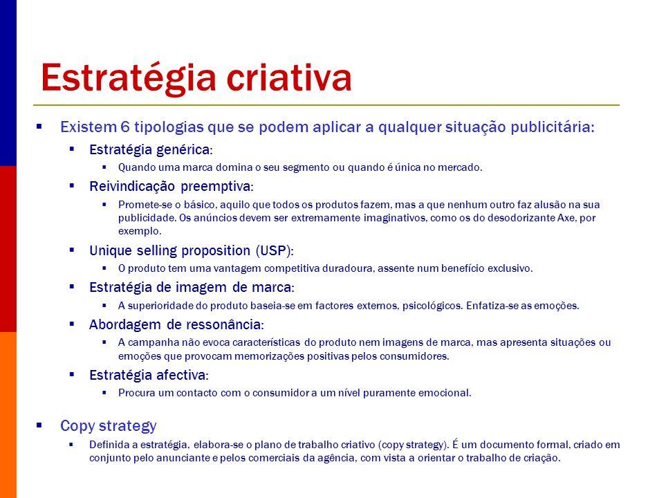 Estratégia criativa Existem 6 tipologias que se podem aplicar a qualquer situação publicitária: Estratégia genérica: Quando uma marca domina o seu seg