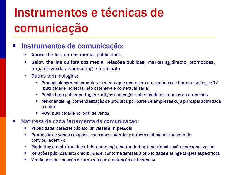 Instrumentos e técnicas de comunicação Instrumentos de comunicação: Above the line ou nos media: publicidade Below the line ou fora dos media: relaçõe