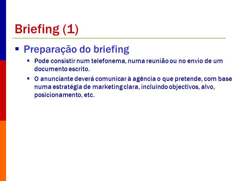 Briefing (1) Preparação do briefing Pode consistir num telefonema, numa reunião ou no envio de um documento escrito. O anunciante deverá comunicar à a