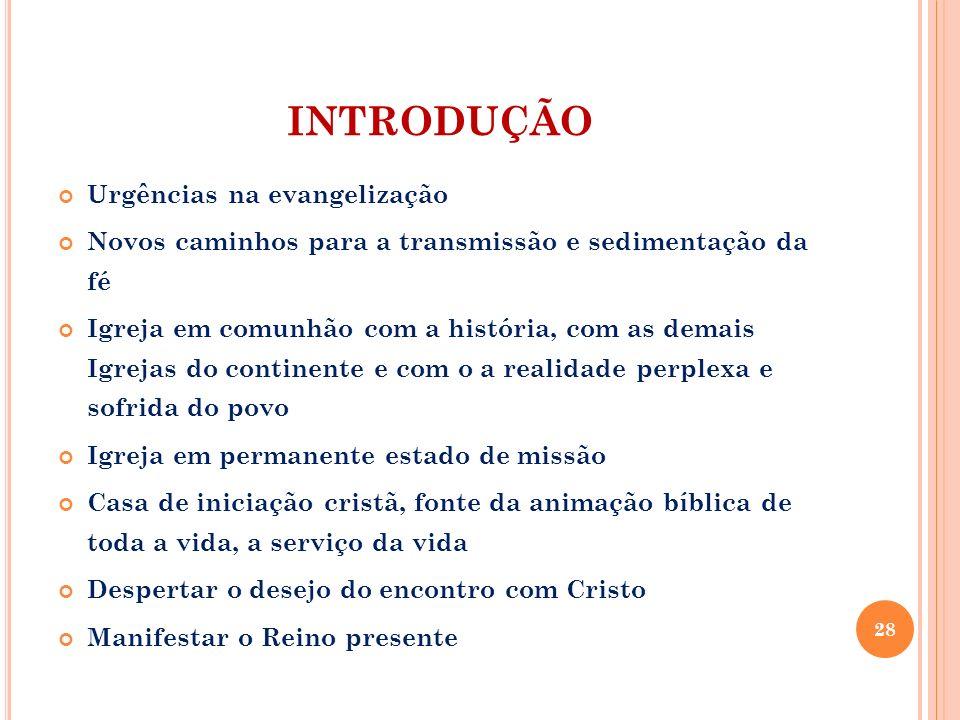INTRODUÇÃO Urgências na evangelização Novos caminhos para a transmissão e sedimentação da fé Igreja em comunhão com a história, com as demais Igrejas
