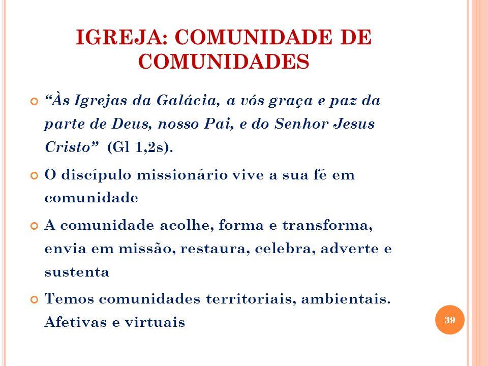 IGREJA: COMUNIDADE DE COMUNIDADES Às Igrejas da Galácia, a vós graça e paz da parte de Deus, nosso Pai, e do Senhor Jesus Cristo (Gl 1,2s). O discípul