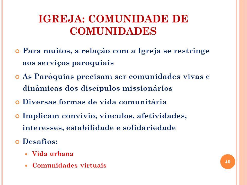 IGREJA: COMUNIDADE DE COMUNIDADES Para muitos, a relação com a Igreja se restringe aos serviços paroquiais As Paróquias precisam ser comunidades vivas