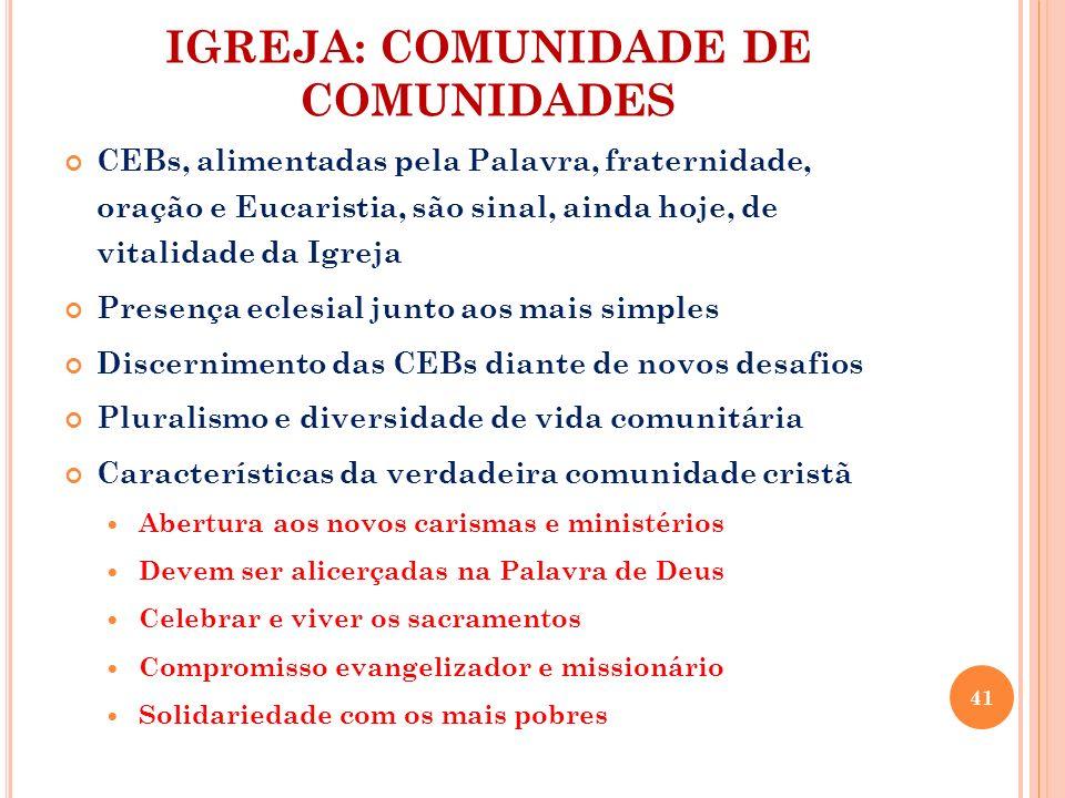 IGREJA: COMUNIDADE DE COMUNIDADES CEBs, alimentadas pela Palavra, fraternidade, oração e Eucaristia, são sinal, ainda hoje, de vitalidade da Igreja Pr