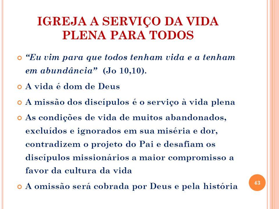 IGREJA A SERVIÇO DA VIDA PLENA PARA TODOS Eu vim para que todos tenham vida e a tenham em abundância (Jo 10,10). A vida é dom de Deus A missão dos dis
