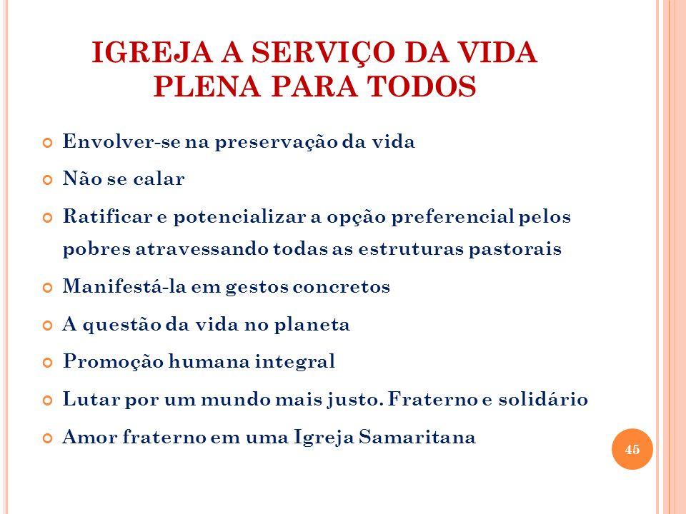 IGREJA A SERVIÇO DA VIDA PLENA PARA TODOS Envolver-se na preservação da vida Não se calar Ratificar e potencializar a opção preferencial pelos pobres