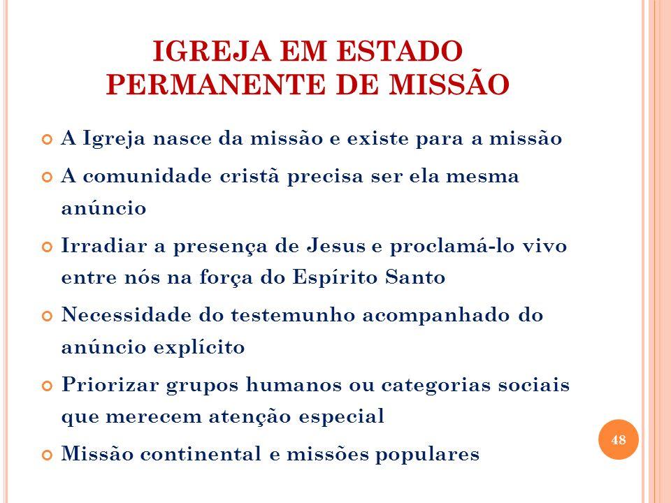 IGREJA EM ESTADO PERMANENTE DE MISSÃO A Igreja nasce da missão e existe para a missão A comunidade cristã precisa ser ela mesma anúncio Irradiar a pre
