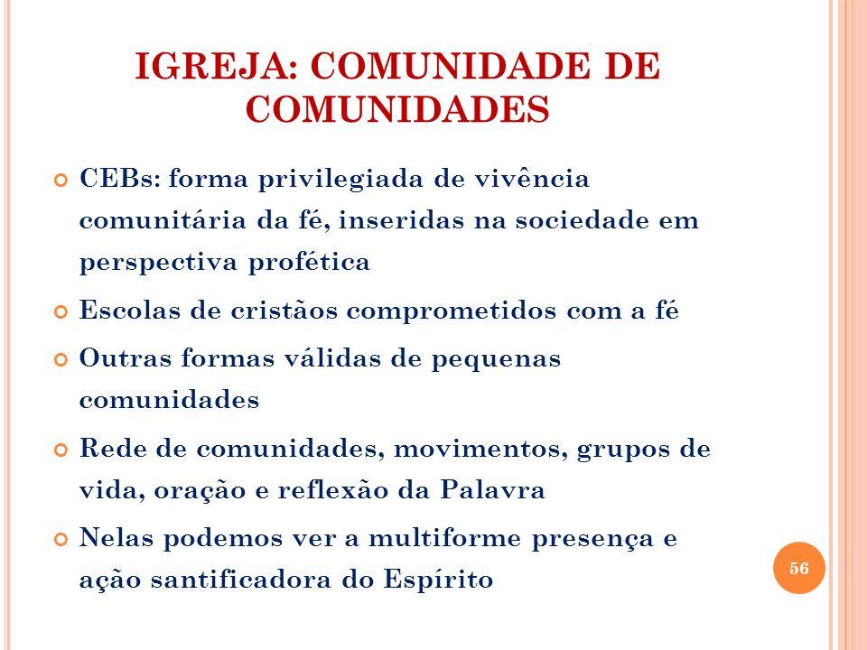 IGREJA: COMUNIDADE DE COMUNIDADES CEBs: forma privilegiada de vivência comunitária da fé, inseridas na sociedade em perspectiva profética Escolas de c
