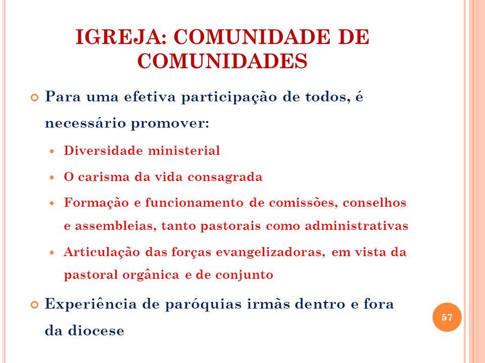 IGREJA: COMUNIDADE DE COMUNIDADES Para uma efetiva participação de todos, é necessário promover: Diversidade ministerial O carisma da vida consagrada