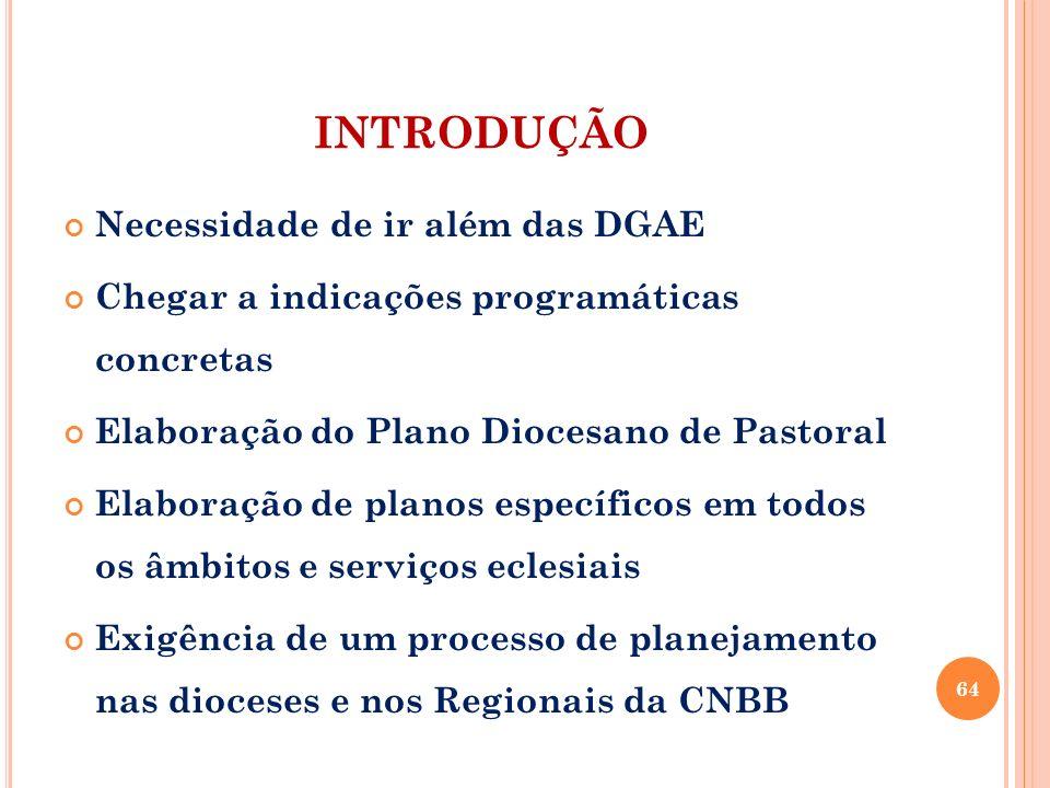 INTRODUÇÃO Necessidade de ir além das DGAE Chegar a indicações programáticas concretas Elaboração do Plano Diocesano de Pastoral Elaboração de planos