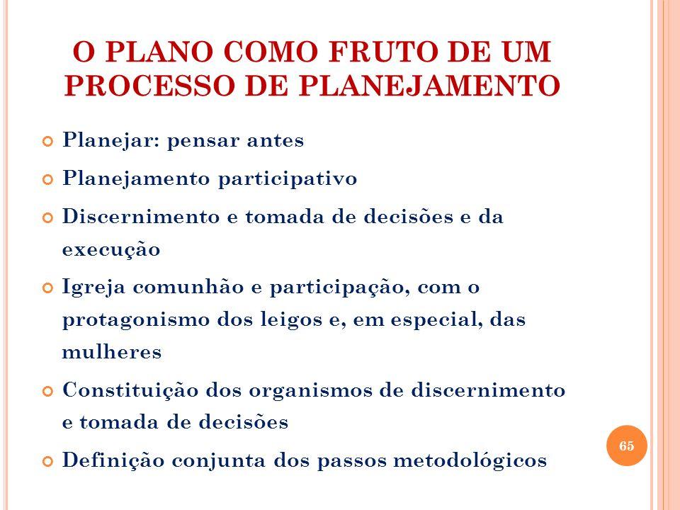 O PLANO COMO FRUTO DE UM PROCESSO DE PLANEJAMENTO Planejar: pensar antes Planejamento participativo Discernimento e tomada de decisões e da execução I