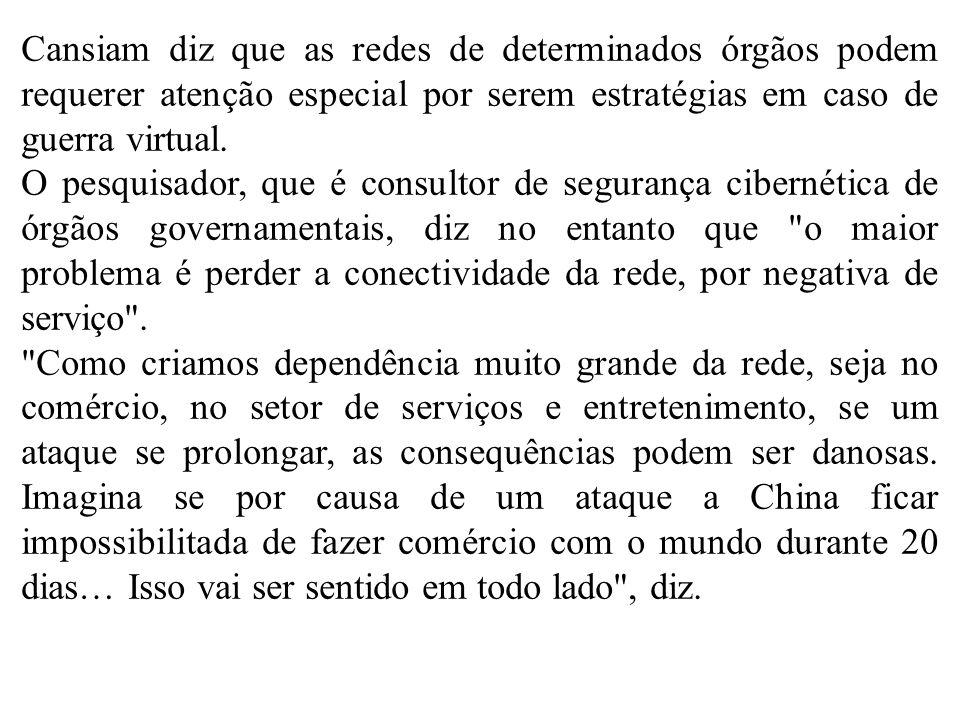 Cansiam diz que as redes de determinados órgãos podem requerer atenção especial por serem estratégias em caso de guerra virtual.