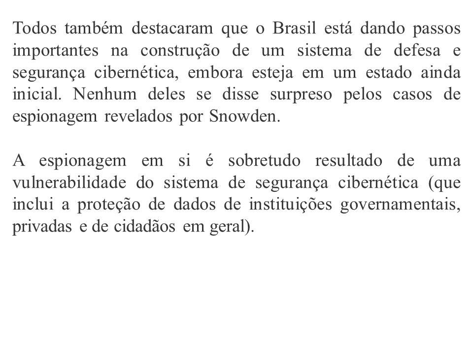 Todos também destacaram que o Brasil está dando passos importantes na construção de um sistema de defesa e segurança cibernética, embora esteja em um estado ainda inicial.