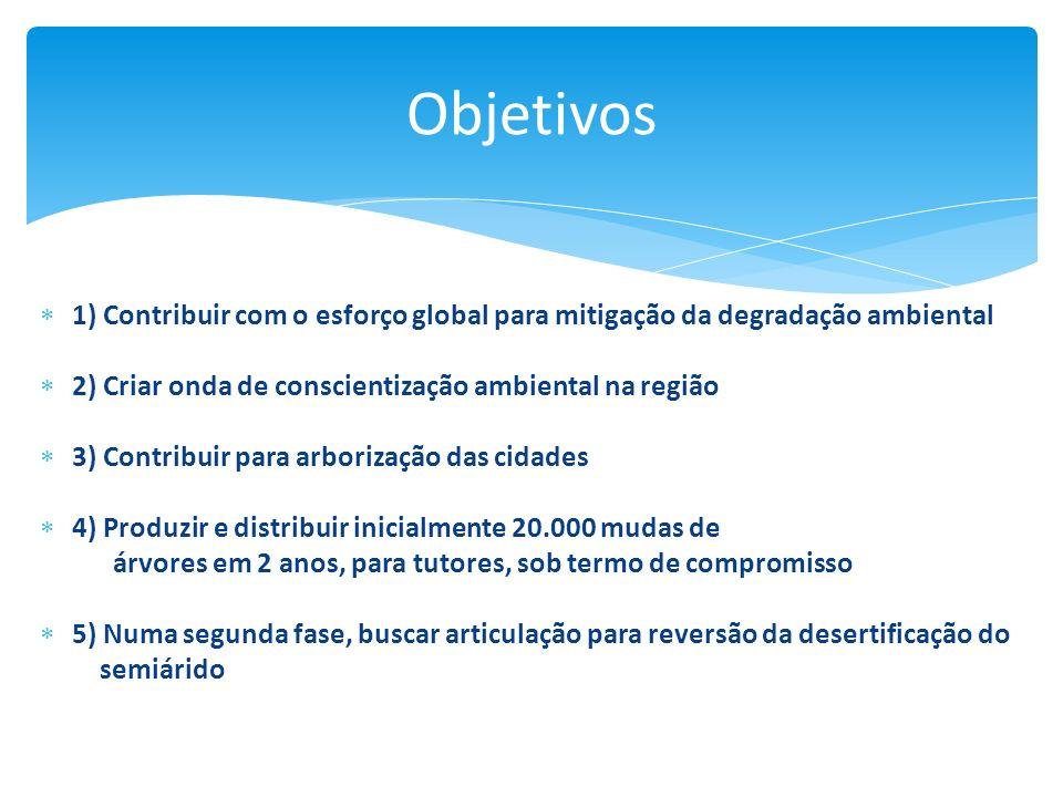 1) Contribuir com o esforço global para mitigação da degradação ambiental 2) Criar onda de conscientização ambiental na região 3) Contribuir para arbo
