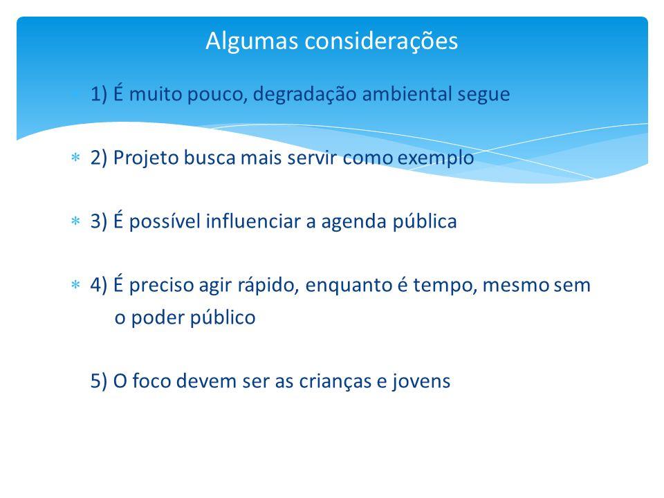 1) É muito pouco, degradação ambiental segue 2) Projeto busca mais servir como exemplo 3) É possível influenciar a agenda pública 4) É preciso agir rá