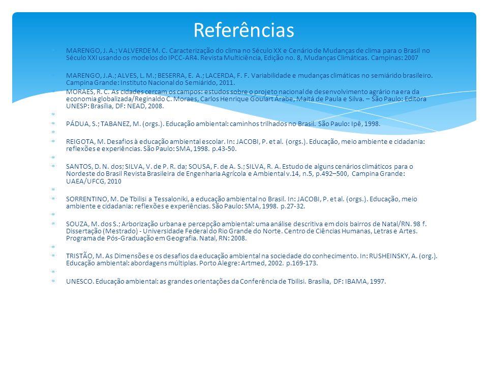 MARENGO, J. A.; VALVERDE M. C. Caracterização do clima no Século XX e Cenário de Mudanças de clima para o Brasil no Século XXI usando os modelos do IP