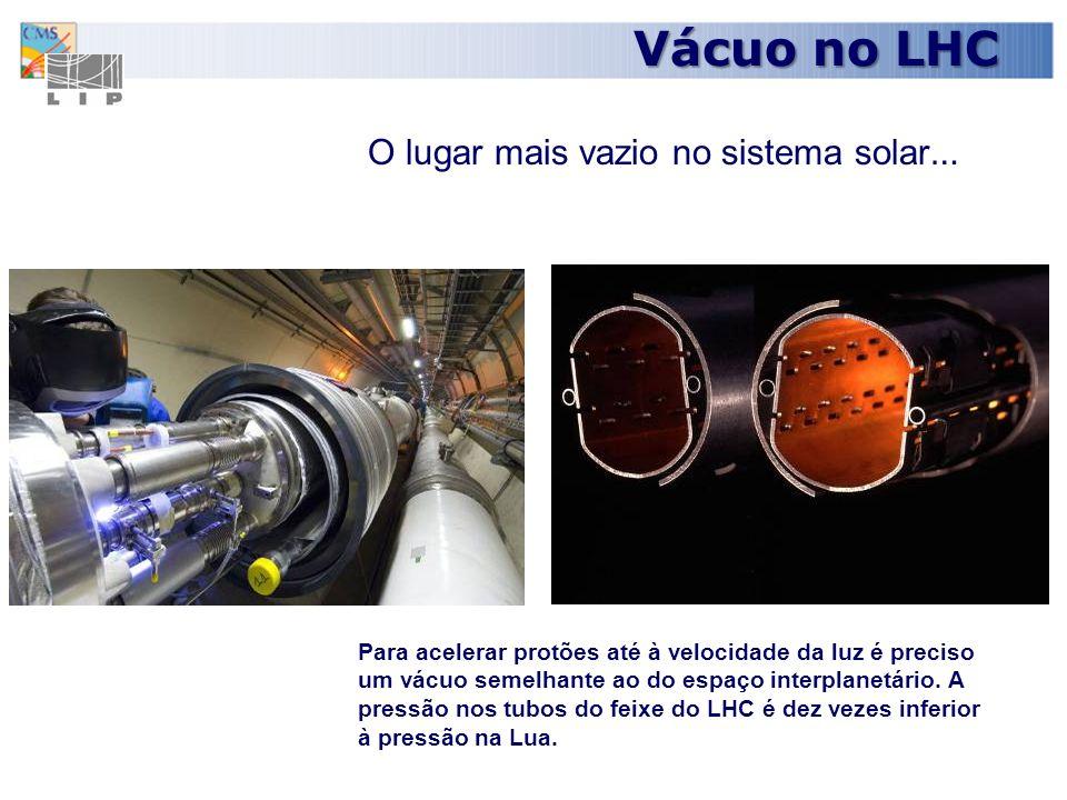 8 Com a temperatura de -271 graus Celsius, ou 1.9 graus acima do zero absoluto, o LHC é mais frio que o espaço interestelar Um dos lugares mais frios do Universo … Criogenia no LHC