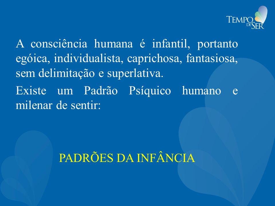 A consciência humana é infantil, portanto egóica, individualista, caprichosa, fantasiosa, sem delimitação e superlativa. Existe um Padrão Psíquico hum