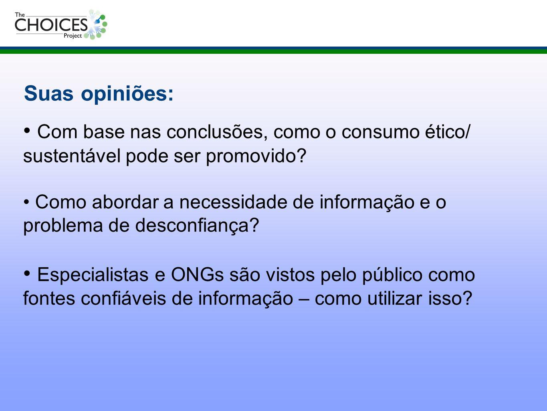 Suas opiniões: Com base nas conclusões, como o consumo ético/ sustentável pode ser promovido? Como abordar a necessidade de informação e o problema de