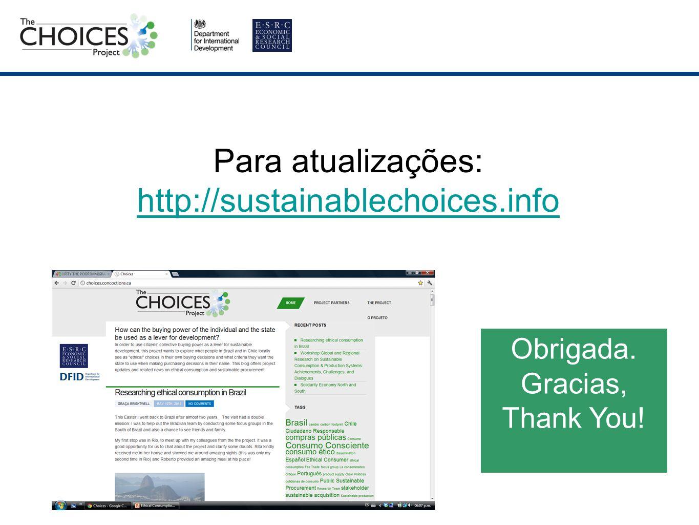 Para atualizações: http://sustainablechoices.info http://sustainablechoices.info Obrigada.