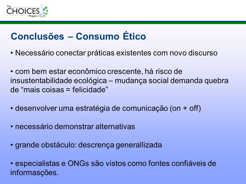 Conclusões – Consumo Ético Necessário conectar práticas existentes com novo discurso com bem estar econômico crescente, há risco de insustentabilidade
