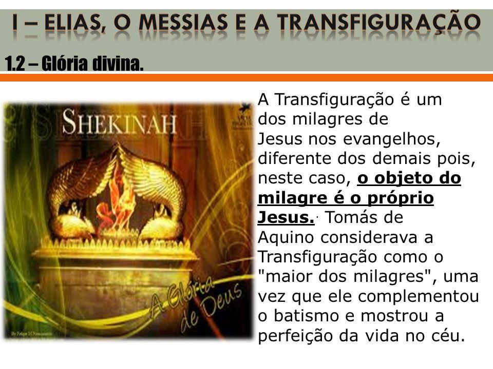 1.2 – Glória divina. A Transfiguração é um dos milagres de Jesus nos evangelhos, diferente dos demais pois, neste caso, o objeto do milagre é o própri