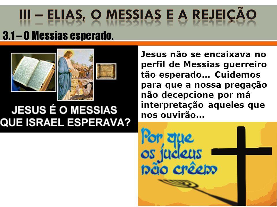 3.1 – O Messias esperado. Jesus não se encaixava no perfil de Messias guerreiro tão esperado… Cuidemos para que a nossa pregação não decepcione por má