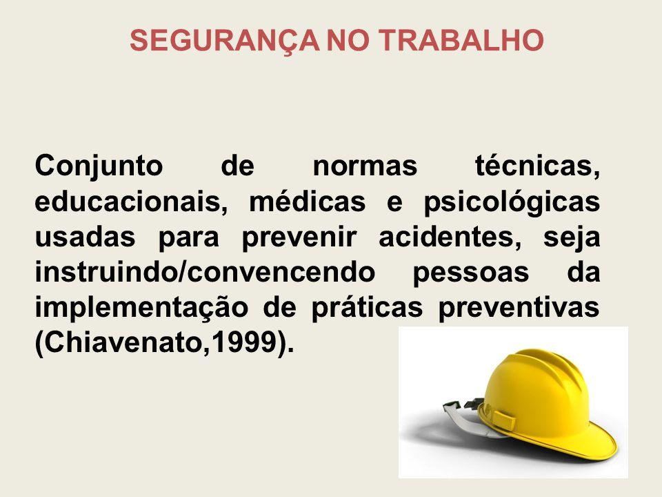 SEGURANÇA NO TRABALHO Conjunto de normas técnicas, educacionais, médicas e psicológicas usadas para prevenir acidentes, seja instruindo/convencendo pe