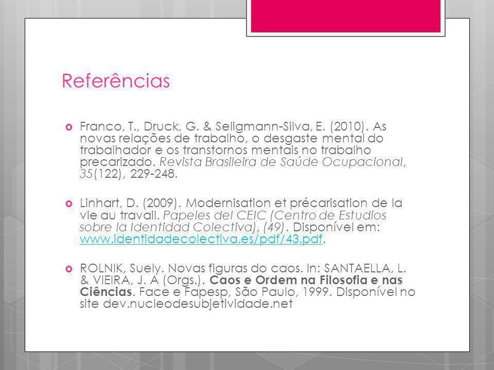 Referências Franco, T., Druck, G. & Seligmann-Silva, E. (2010). As novas relações de trabalho, o desgaste mental do trabalhador e os transtornos menta