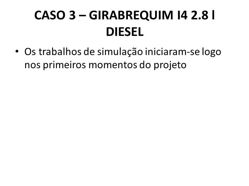 CASO 3 – GIRABREQUIM I4 2.8 l DIESEL Os trabalhos de simulação iniciaram-se logo nos primeiros momentos do projeto