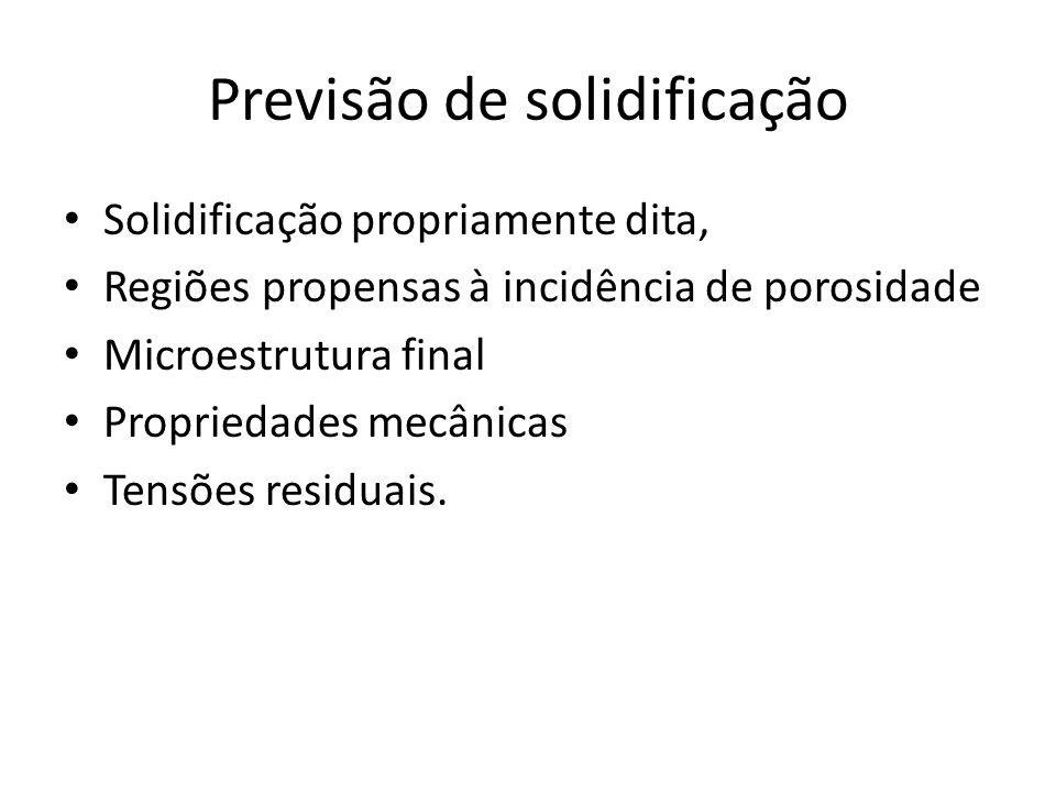 Previsão de solidificação Solidificação propriamente dita, Regiões propensas à incidência de porosidade Microestrutura final Propriedades mecânicas Tensões residuais.